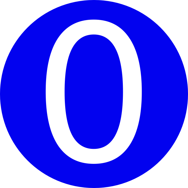 0 number on blue