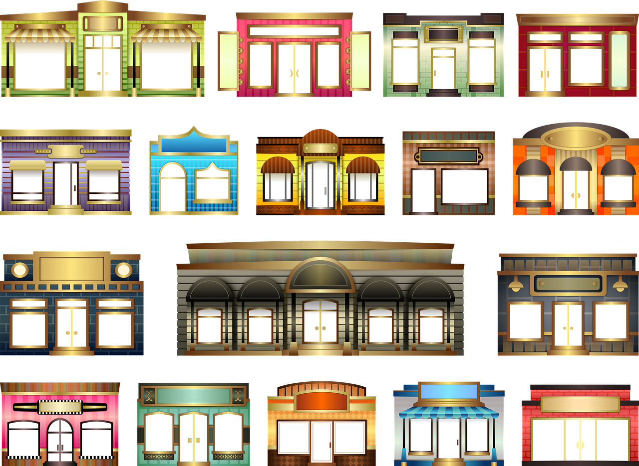 Stores Store Fronts Set Building