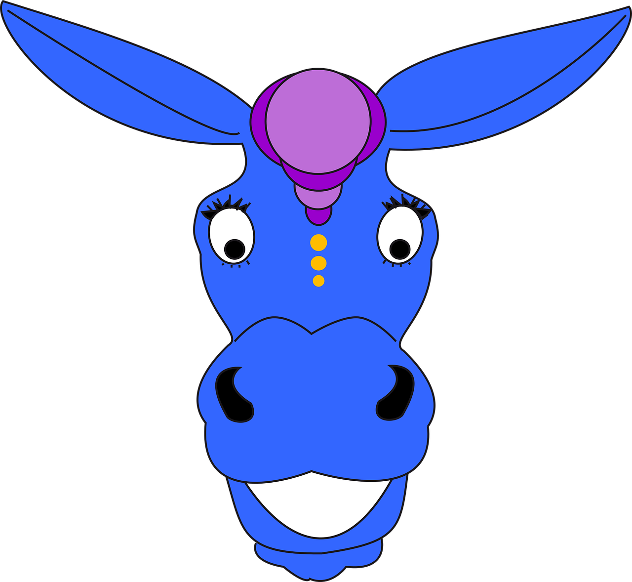 Donkey Blue Animal Head